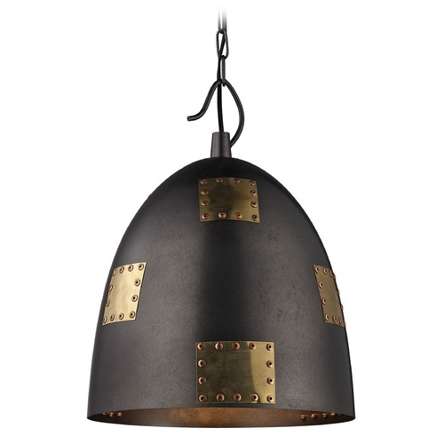 Elk Lighting Elk Lighting Strasburg Weathered Iron/antique Gold Pendant Light with Bowl / Dome Shade 14291/1