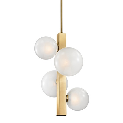 Hudson Valley Lighting Hudson Valley Lighting Hinsdale Aged Brass Pendant Light with Globe Shade 8704-AGB