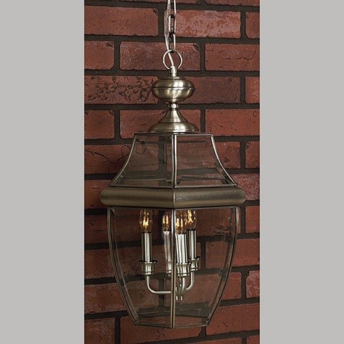 Quoizel Lighting Outdoor Hanging Light with Clear Glass in Pewter Finish NY1180P
