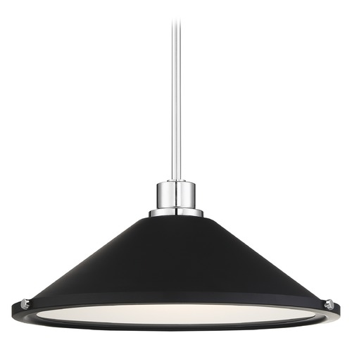 Nuvo Lighting Satco Lighting Bette Polished Nickel / Matte Black LED Pendant Light with Conical Shade 62/1476