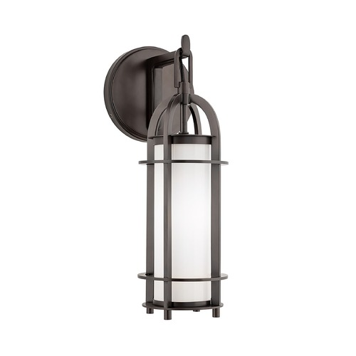 Hudson Valley Lighting Modern Sconce with White Glass in Historic Bronze Finish 8501-HB