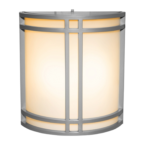 Access Lighting Outdoor Wall Light with White Glass in Satin Nickel Finish 20362-SAT/OPL