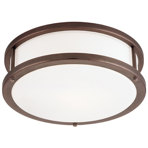 Access Lighting Modern Flushmount Light with White Glass in Bronze Finish 50080-BRZ/OPL
