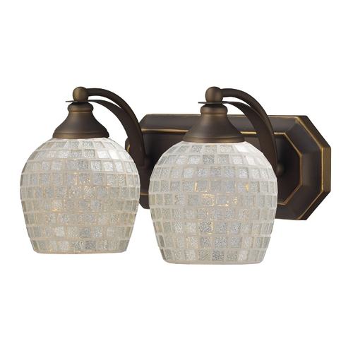 Elk Lighting Bathroom Light with Art Glass in Aged Bronze Finish 570-2B-SLV