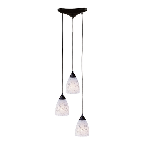 Elk Lighting Modern Multi-Light Pendant Light with Art Glass and 3-Lights 406-3SW