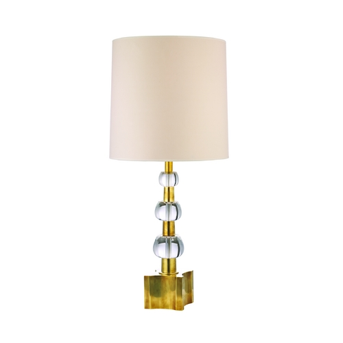 Hudson Valley Lighting Modern Table Lamp with White Shades in Aged Brass Finish L125-AGB-WS