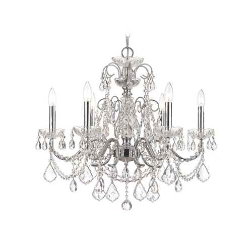 Crystorama Lighting Crystal Chandelier in Polished Chrome Finish 3226-CH-CL-SAQ