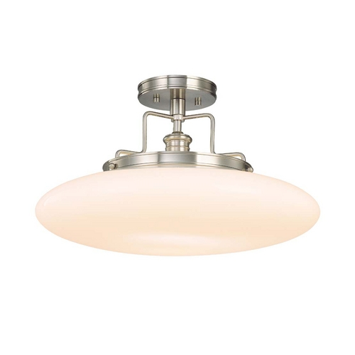 Hudson Valley Lighting Modern Semi-Flushmount Light with White Glass in Satin Nickel Finish 4208-SN