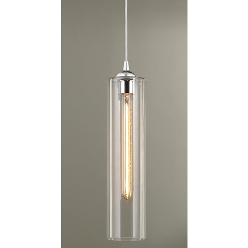 Design Classics Lighting Gala Fuse Chrome Mini-Pendant Light with Cylindrical Shade 582-26 GL1640C