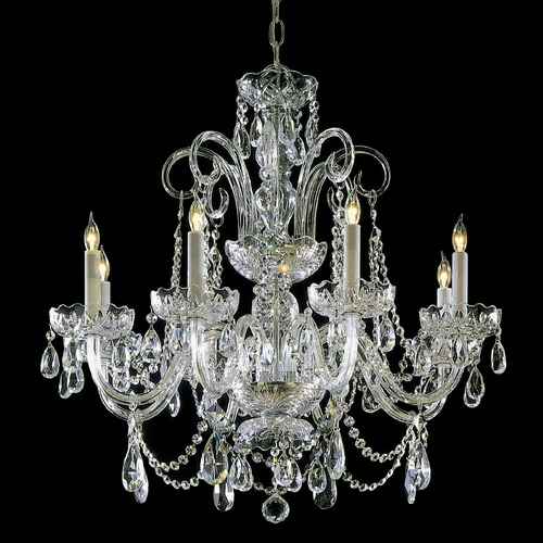 Crystorama Lighting Crystorama Traditional 8-Light Crystal Chandelier in Polished Brass 5008-PB-CL-SAQ