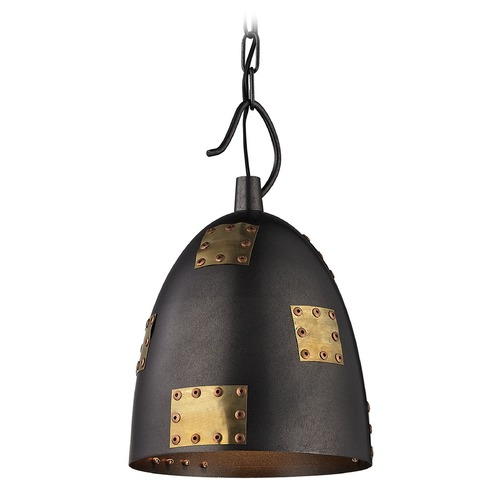 Elk Lighting Elk Lighting Strasburg Weathered Iron/antique Gold Mini-Pendant Light with Bowl / Dome Shade 14290/1