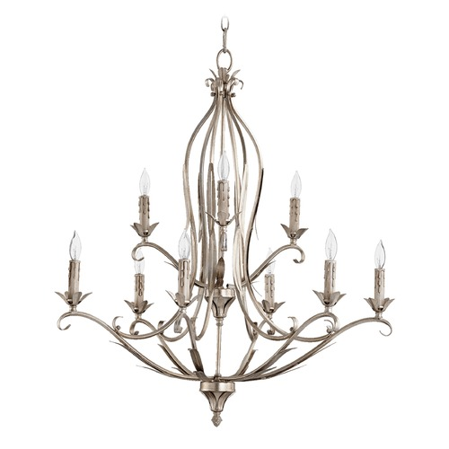 Quorum Lighting Quorum Lighting Flora Aged Silver Leaf Chandelier 6172-9-60