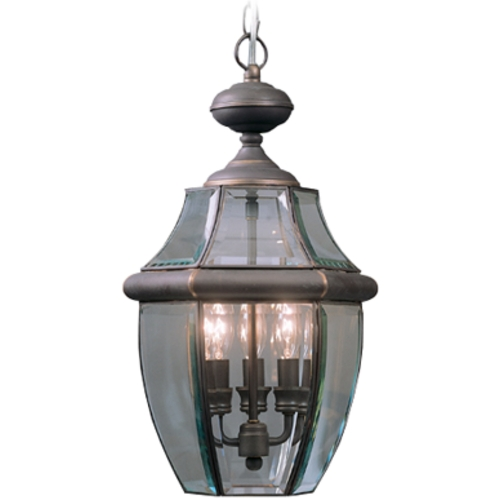 Quoizel Lighting Outdoor Hanging Light with Clear Glass in Medici Bronze Finish NY1180Z