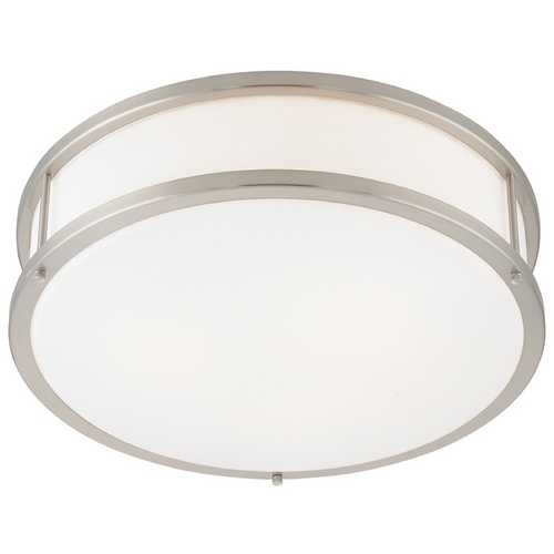 Access Lighting Modern Flushmount Light with White Glass in Brushed Steel Finish 50080-BS/OPL