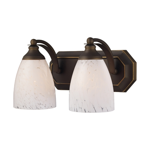 Elk Lighting Bathroom Light with Art Glass in Aged Bronze Finish 570-2B-SW