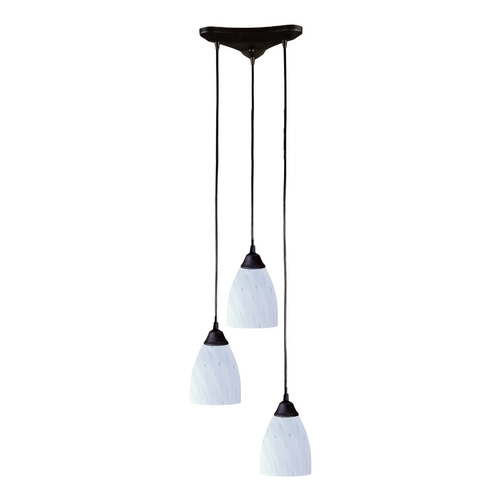Elk Lighting Modern Multi-Light Pendant Light with Art Glass and 3-Lights 406-3WH