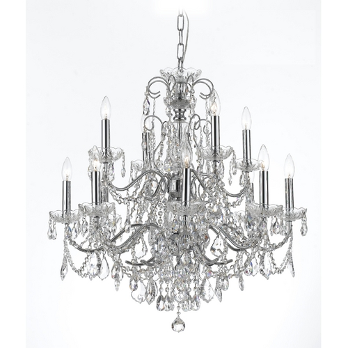 Crystorama Lighting Crystal Chandelier in Polished Chrome Finish 3228-CH-CL-MWP