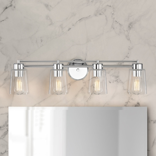 Design Classics Lighting Chrome Bathroom Light 704-26 GL1027-CLR