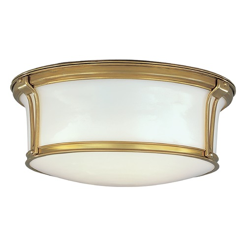 Hudson Valley Lighting Flushmount Light with White Glass in Aged Brass Finish 6515-AGB