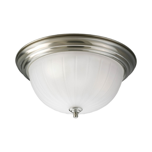 Progress Lighting Flushmount Light with White Glass in Brushed Nickel Finish P3818-09EB