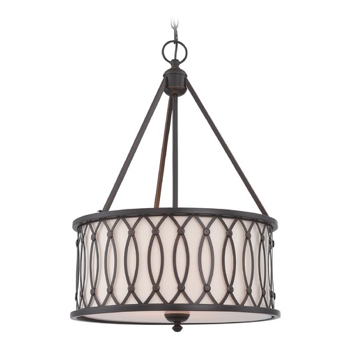 Lite Source Lighting Lite Source Dark Bronze Pendant Light with Drum Shade LS-19729