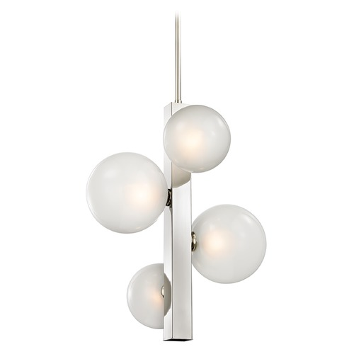 Hudson Valley Lighting Hudson Valley Lighting Hinsdale Polished Nickel Pendant Light with Globe Shade 8704-PN