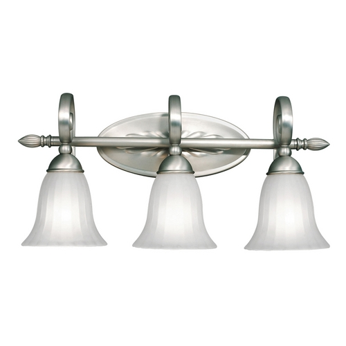 Kichler Lighting Kichler Bathroom Light with White Glass in Brushed Nickel Finish 5928NI