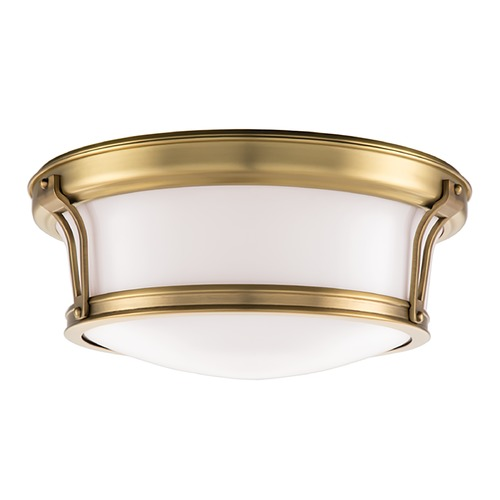 Hudson Valley Lighting Flushmount Light with White Glass in Aged Brass Finish 6513-AGB