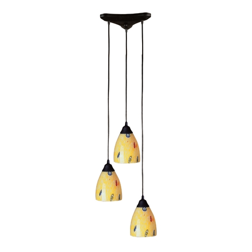 Elk Lighting Modern Multi-Light Pendant Light with Art Glass and 3-Lights 406-3YW