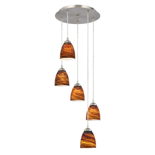 Design Classics Lighting Modern Multi-Light Pendant Light with Brown Art Glass and 5-Lights 580-09 GL1023MB