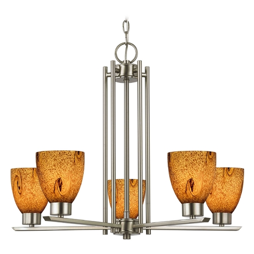 Design Classics Lighting Chandelier with Brown Art Glass in Satin Nickel - 5-Lights 1120-1-09 GL1001MB