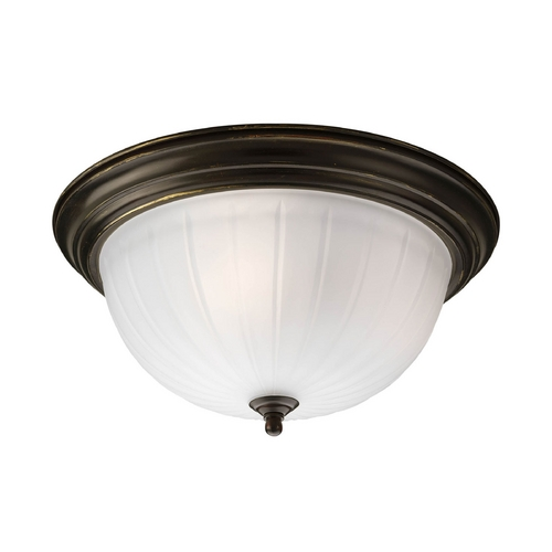 Progress Lighting Flushmount Light with White Glass in Antique Bronze Finish P3818-20EB