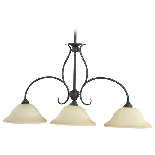 Quorum Lighting Quorum Lighting Spencer Old World Island Light with Bowl / Dome Shade 6510-3-95