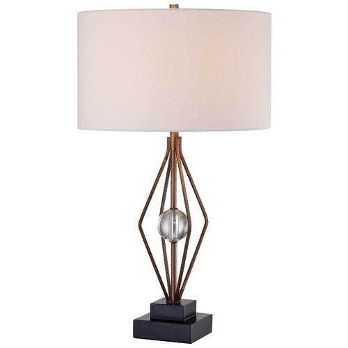 Minka Lavery Minka Ambience Silver Leaf Table Lamp with Drum Shade 12412-0