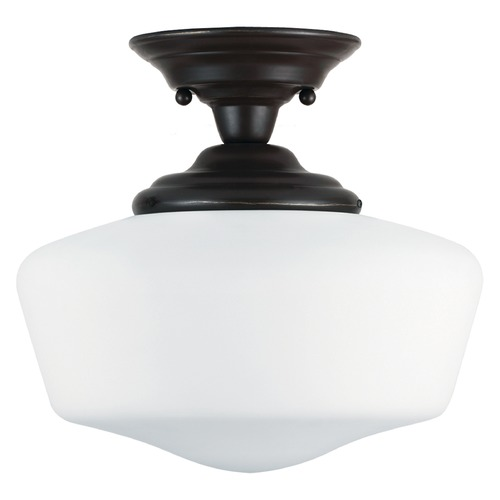 Sea Gull Lighting Schoolhouse LED Semi-Flushmount Light Bronze Academy by Sea Gull Lighting 7743791S-782