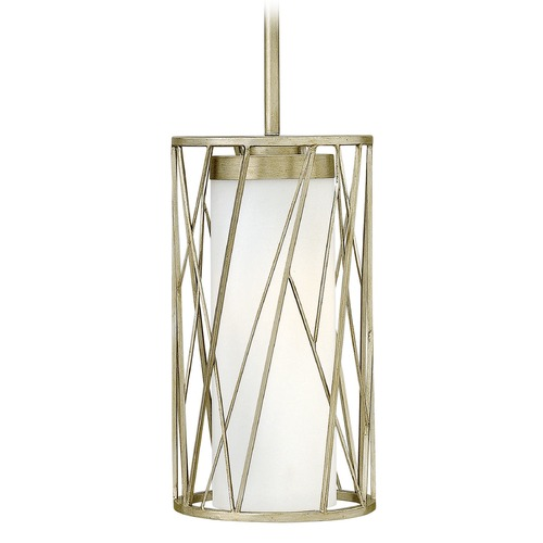 Hinkley Lighting Hinkley Lighting Nest Silver Leaf LED Mini-Pendant Light with Cylindrical Shade 41617SLF-LED