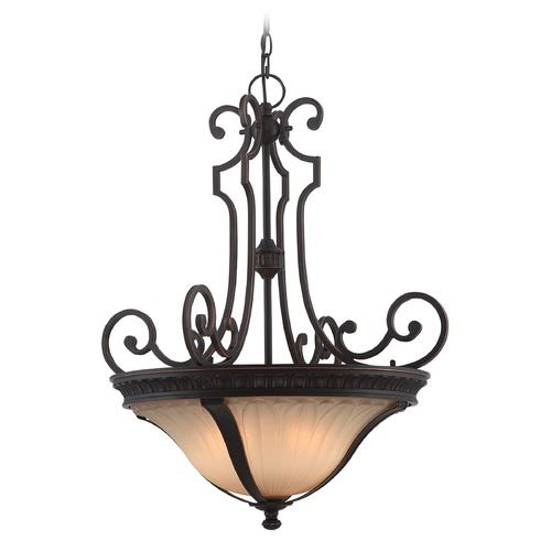 Lite Source Lighting Lite Source Crescentia Antique Bronze Pendant Light with Fluted Shade C71350