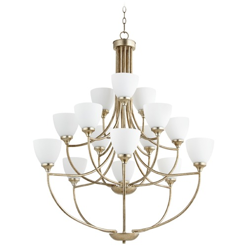 Quorum Lighting Quorum Lighting Enclave Aged Silver Leaf Chandelier 6059-15-60