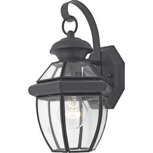 Quoizel Lighting Outdoor Wall Light with Clear Glass in Mystic Black Finish NY8315K