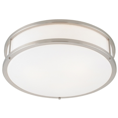 Access Lighting Modern Flushmount Light with White Glass in Brushed Steel Finish 50081-BS/OPL