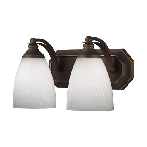Elk Lighting Bathroom Light with Art Glass in Aged Bronze Finish 570-2B-WH