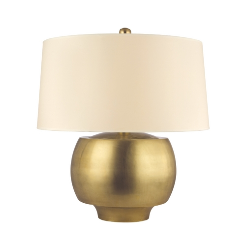 Hudson Valley Lighting Modern Table Lamp with Beige / Cream Paper Shade in Aged Brass Finish L162-AGB