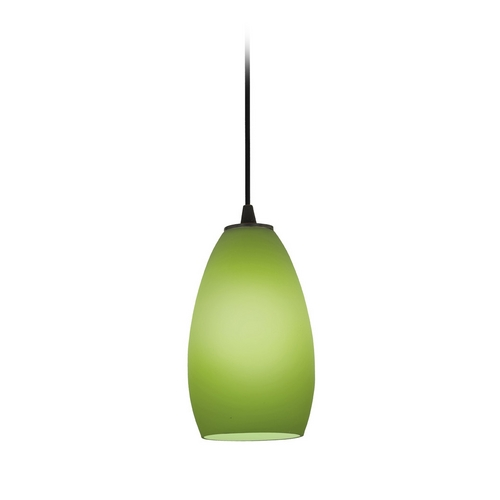 Access Lighting Modern Mini-Pendant Light with Green Glass 28012-1C-ORB/LGR
