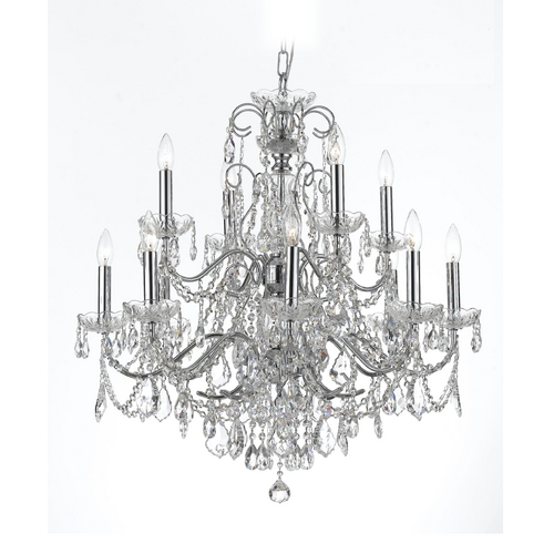 Crystorama Lighting Crystal Chandelier in Polished Chrome Finish 3228-CH-CL-SAQ
