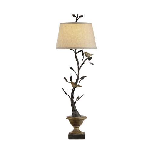 Currey and Company Lighting Table Lamp with Beige / Cream Shade in Old Bronze/rustic Wood Finish 6353