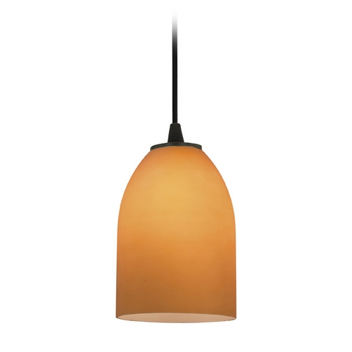 Access Lighting Access Lighting Sydney Inari Silk Oil Rubbed Bronze Mini-Pendant with Oblong Shade 28018-1C-ORB/AMB