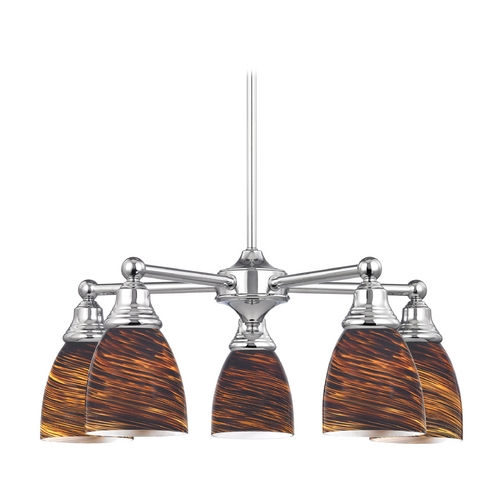 Design Classics Lighting Chandelier with Brown Art Glass in Polished Chrome Finish 597-26 GL1023MB