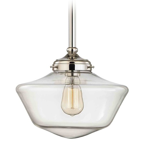 Design Classics Lighting 12-Inch Clear Glass Schoolhouse Pendant Light in Polished Nickel FA4-15 / GA12-CL