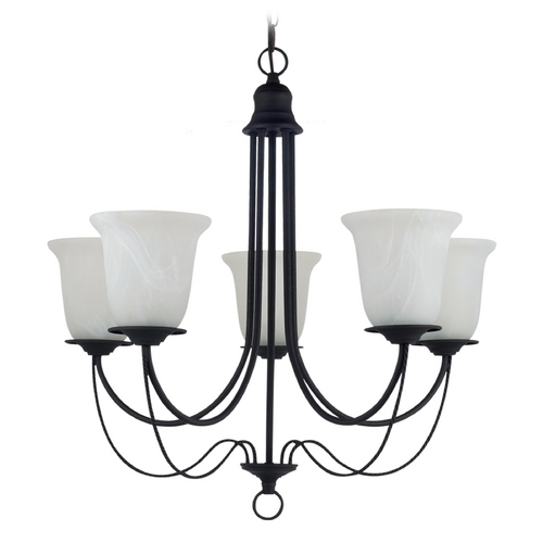 Sea Gull Lighting Chandelier with Alabaster Glass in Blacksmith Finish 31292-839