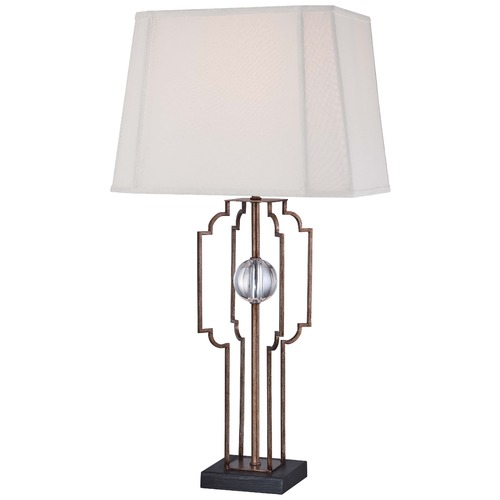 Minka Lavery Minka Ambience Silver Leaf Table Lamp with Cut Corner Shade 12413-0